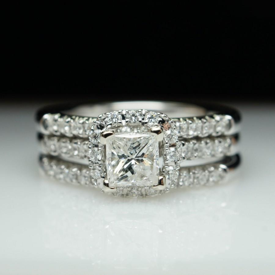 Holiday Princess Cut Diamond Halo Engagement Ring Two Wedding Band Set 14k White Gold Double 3