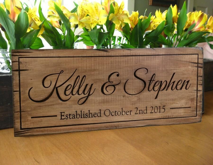 Rustic Wood Sign Personalized Distressed Carved Name Barn Wedding Gift Last