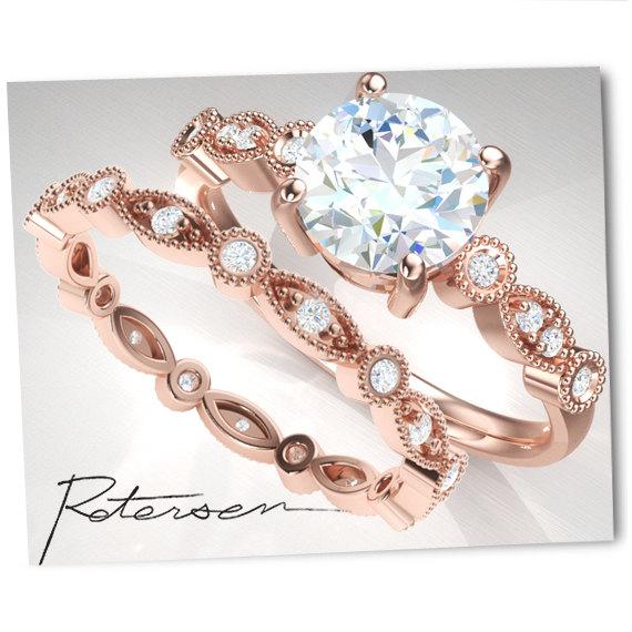 New SALE Wedding Ring Set - Rose Gold Engagement Ring Set - Vintage  YJ81