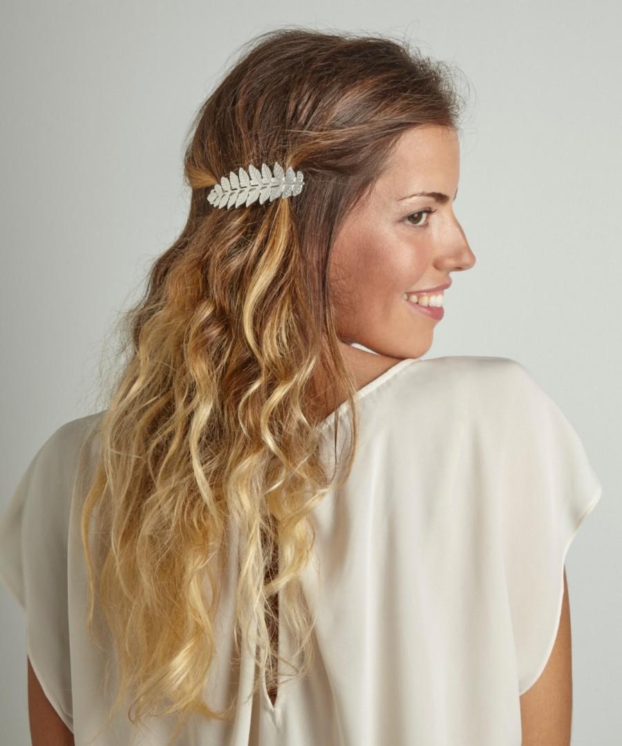 athena leaf barrette, grecian bridal goddess clip, bridal hair