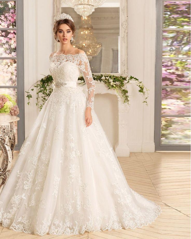 Online Vestido De Noiva Manga Longa Three Quarter Sleeves A Line Wedding Dress With Sash Plus Size Lace Vintage Dresses 2016
