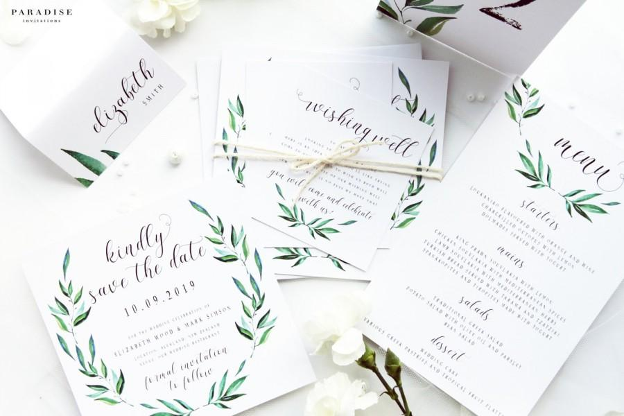 Special Offer 18 Complete Wedding Package Green Leaf Invitation Kit Watercolour Leaves Printable Files Or Printed Cards