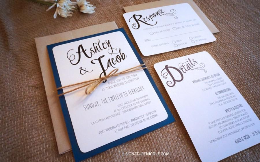 Rustic Navy Wedding Invitation With Rsvp And Detail Card Quick Delivery Organic Barn Farm Simple Elegant Style Set Of 10