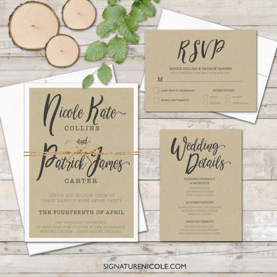 Rustic Wedding Invitation With Rsvp And Detail Cards Quick Delivery Handwritten Style Organic Farm Simple Elegant Set Of 10