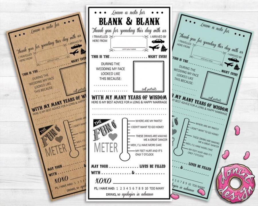 Custom Printable Wedding Mad Lib Premade Funny Advice Guest Book