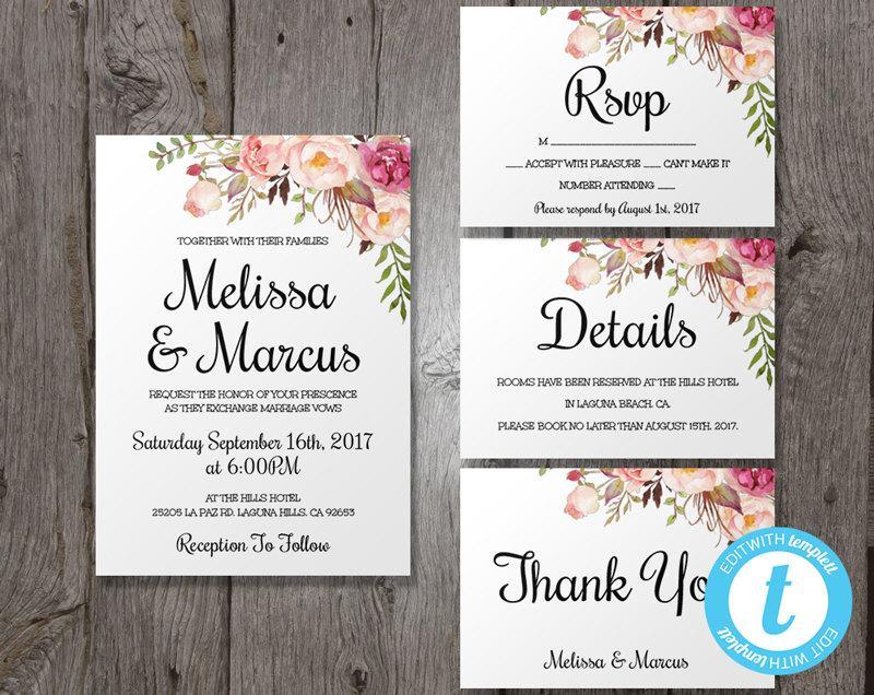 Wedding Invitation Template Set Fl Boho Invite Printable Easy To Edit Bohemian