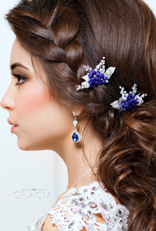 blue hair pins flower hair pins pearl bridal hair pins navy blue