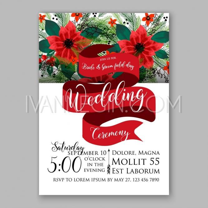 Poinsettia Wedding Invitation Sample Card Beautiful Winter Fl Ornament Christmas Party Wreath Unique Vector Ilrations Cards