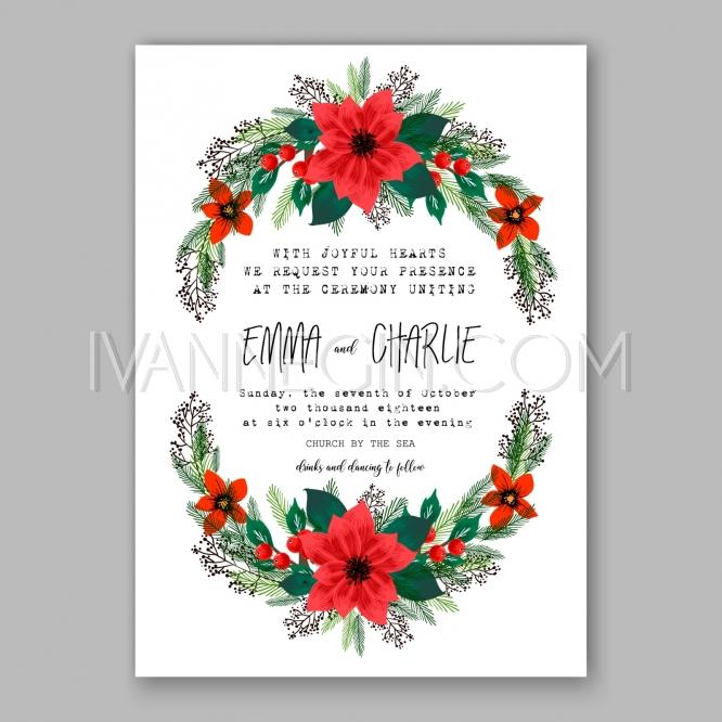 Poinsettia Wedding Invitation Sample Card Beautiful Winter Fl Ornament Christmas Party Wreath Unique Vector Ilrations Cards