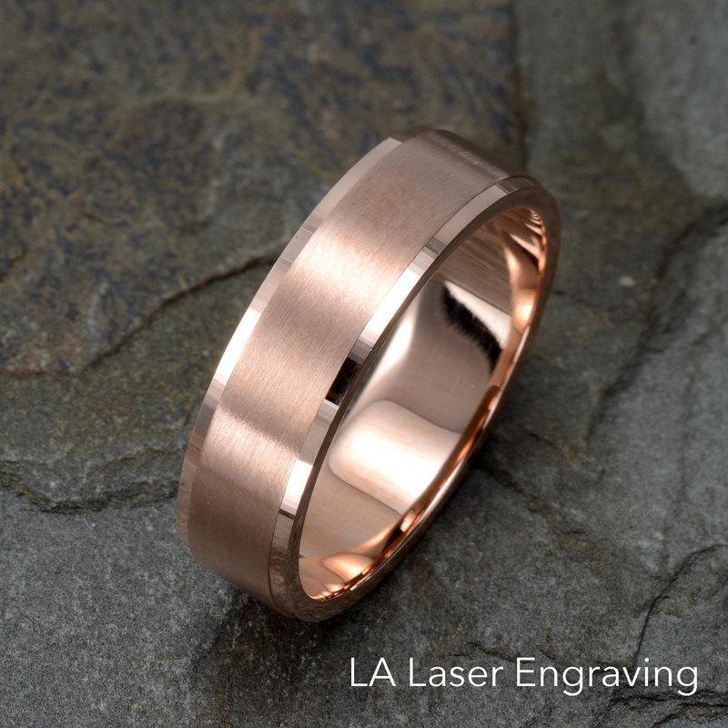 Brushed Wedding Ring 14k Solid Rose Gold Band Mens Gift Anniversary Custom Engraving