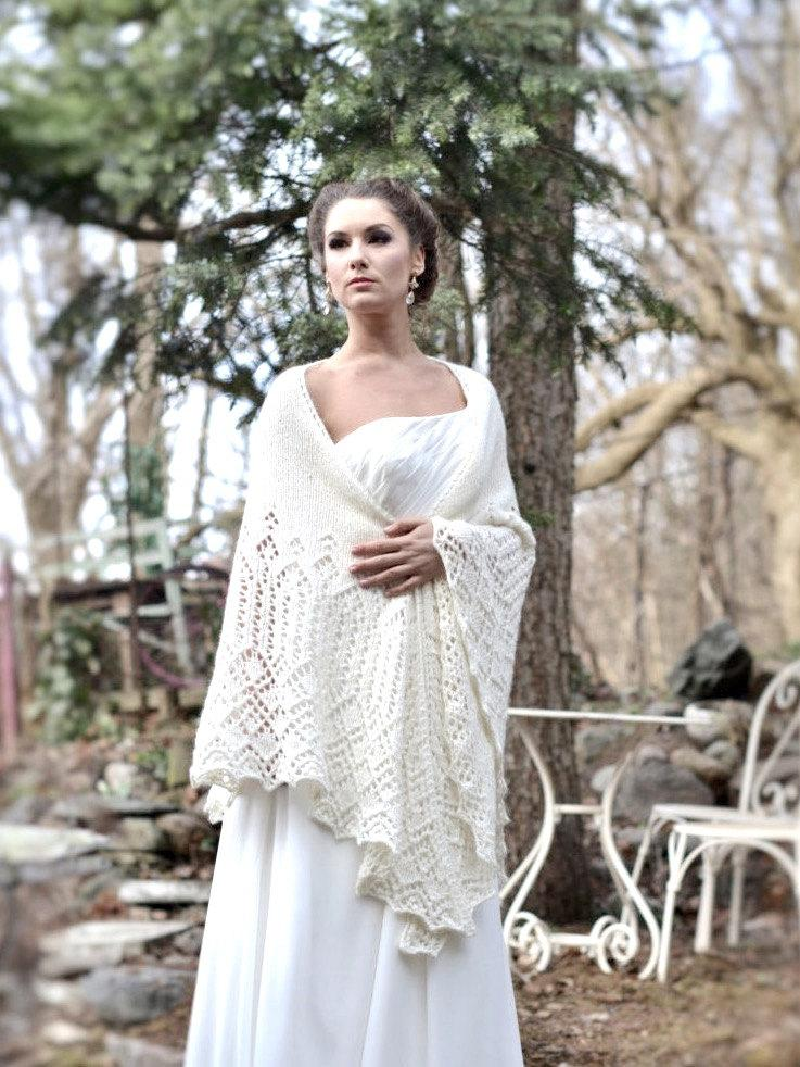 Wedding Shawl Merino Wool Cashmere Lace Ivory Color Stola Bridal Wrap Handknitted
