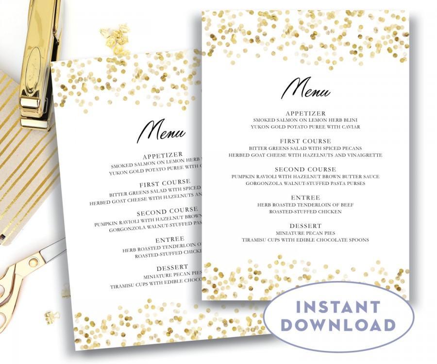Gold Wedding Menu Template 5x7 Editable Text Microsoft Word Card Confetti Instant Glam