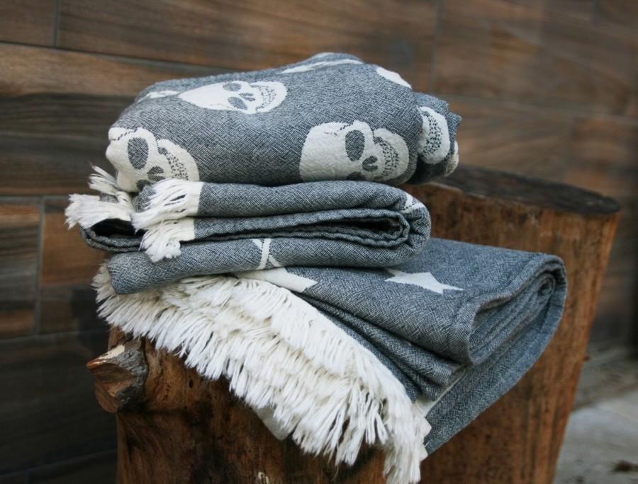 Well-known Large Skull Towel, Hipster Beach Towel, Black White Skull Picnic  UG67