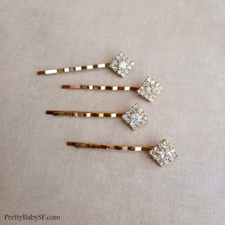 Gold Bridal Crystal Hairpins 4 Pc Square Diamond Hair Pin Art Deco Accessory Small