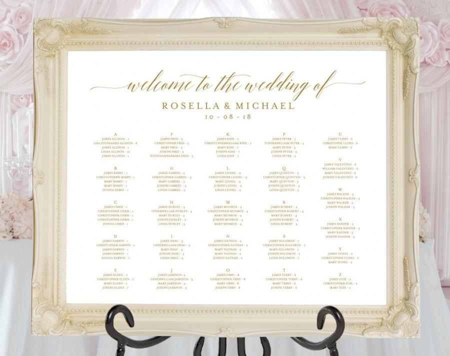 Gold Wedding Seating Chart Printable Template Board Find Your Seat Sign Guest List Wpc 58