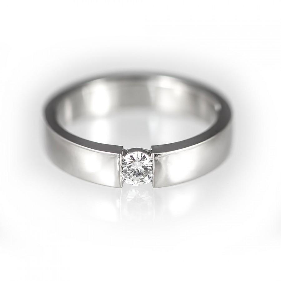 Simple Diamond Engagement Ring Modern Wedding Band Contemporary Solitaire Unique Fo Her Uni