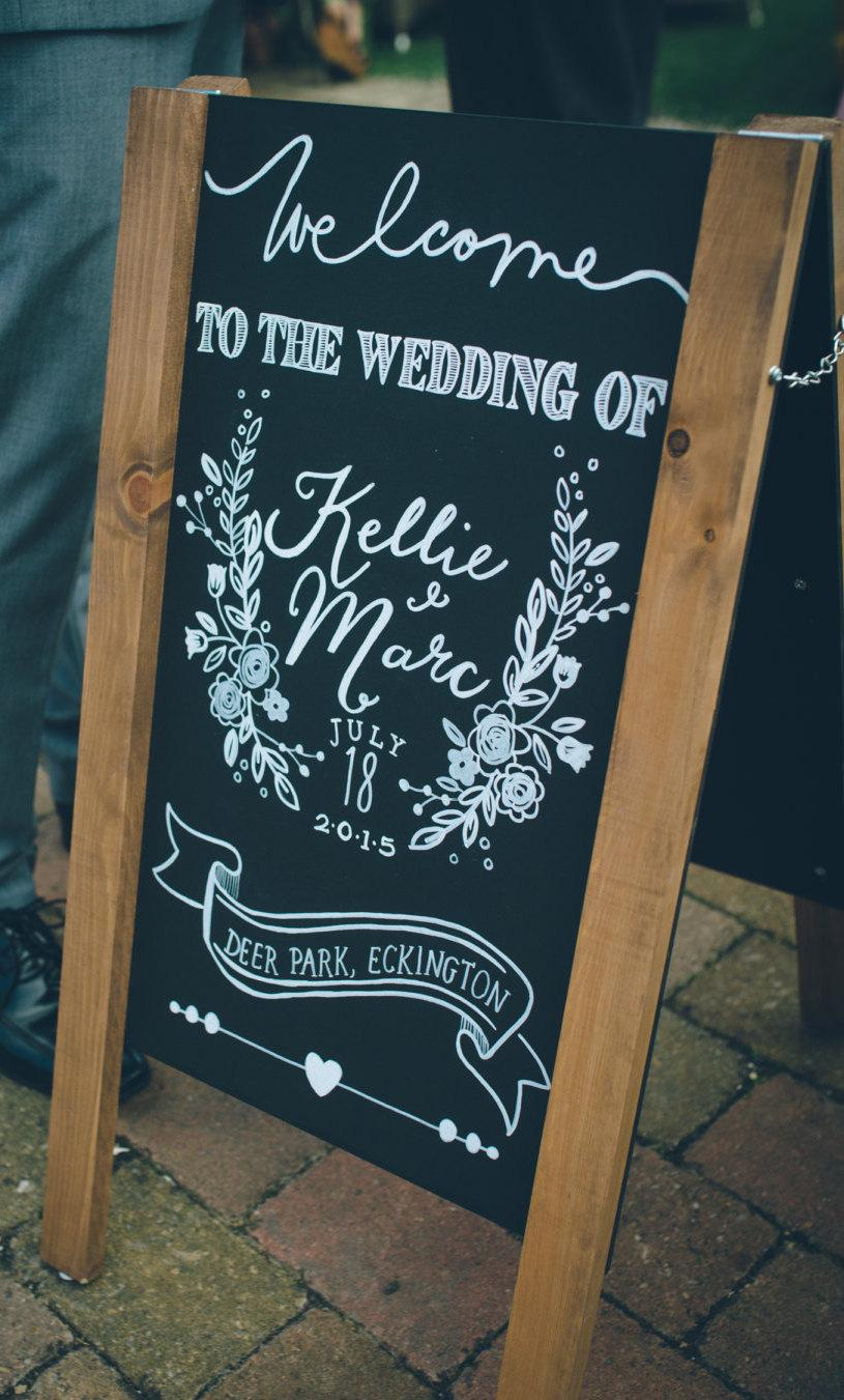 Personalised Wedding Chalkboard Sign Custom Welcome Rules Decor Vintage Country
