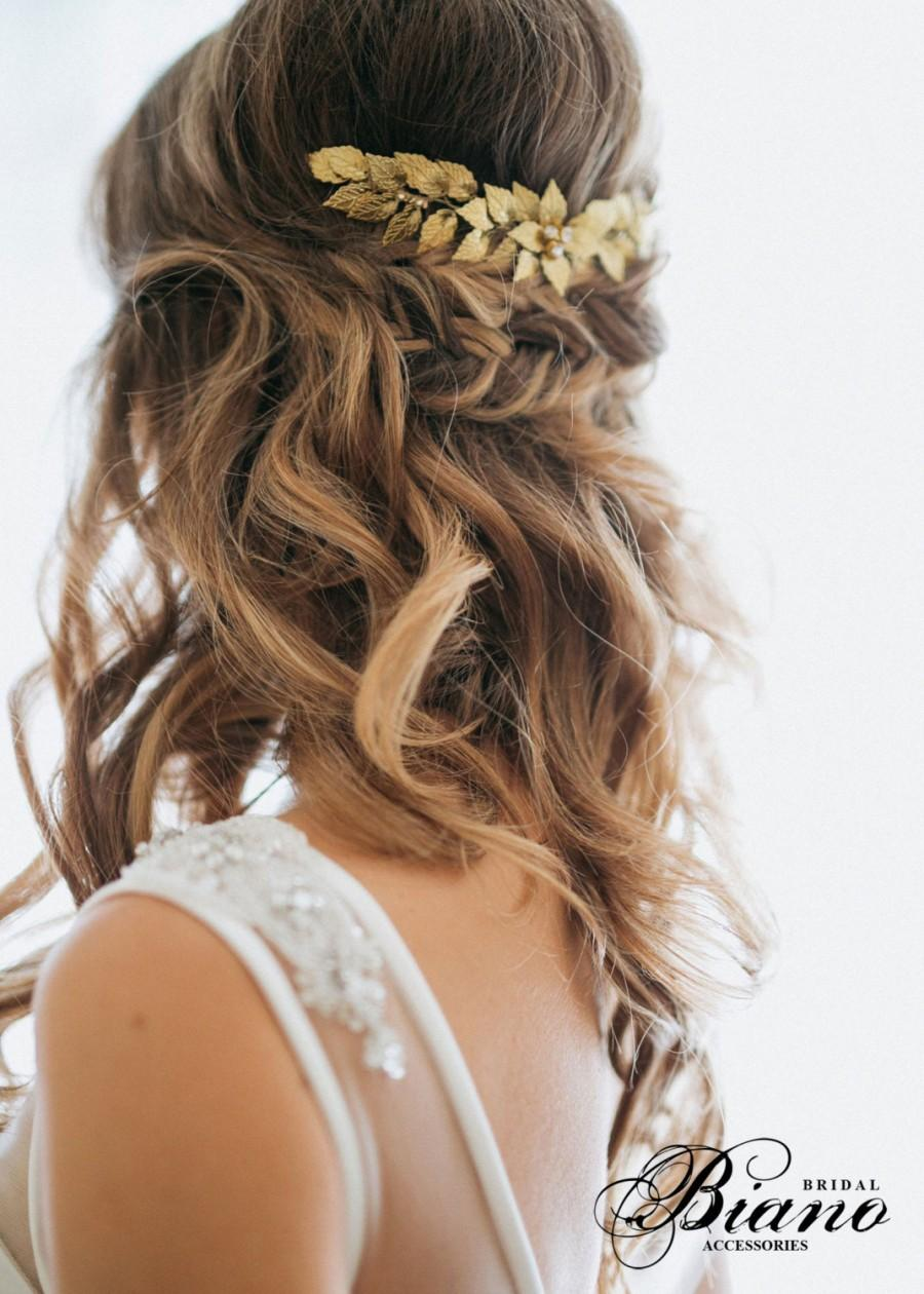 gold leaf bridal hair comb, wedding hair comb, rustic woodland