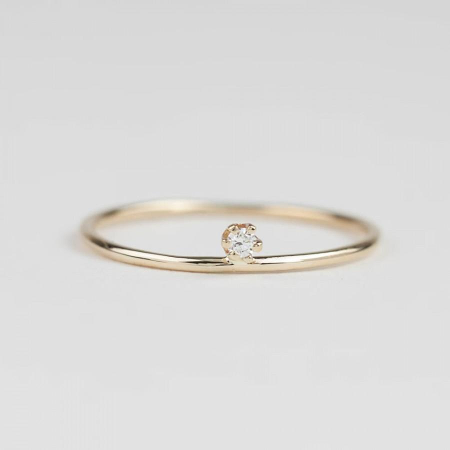Unique Engagement Ring Simple Delicate Pee Diamond Dainty Solitaire 14k Yellow Rose White Gold Gol R106
