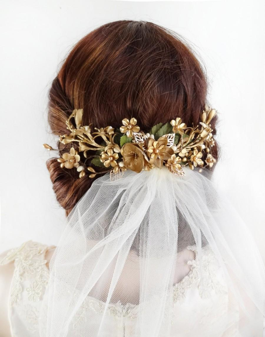 gold hair vine, gold wedding headpiece, gold hair clip, gold flower