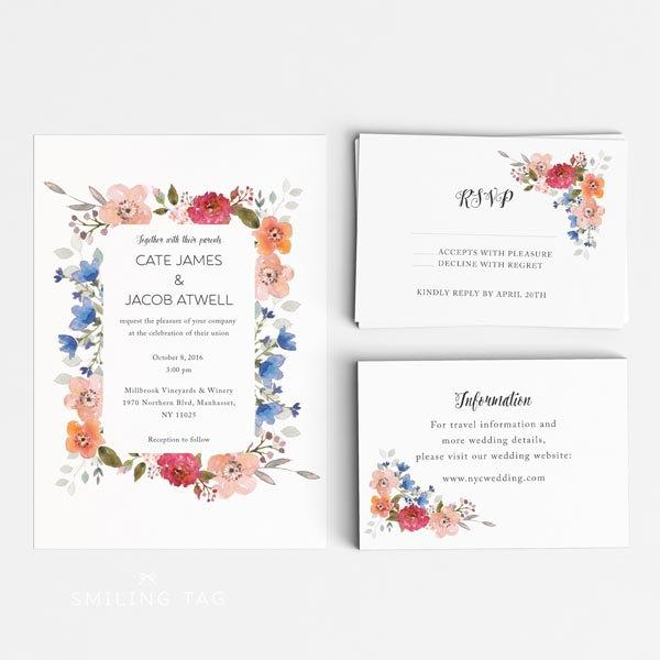 Rsvp Card Size Printable Wedding Invitation Set Spring Garden Fl