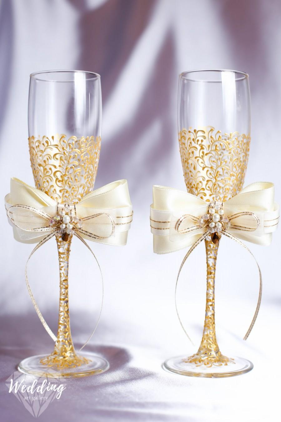 Personalized Wedding Flutes Champagne Gles Toasting Gold Set Of2