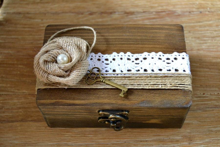 Wedding Ring Box Personalized Rustic Vintage Holder Wood Bearer Burlap Lace Flower