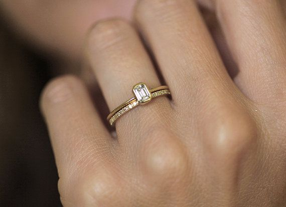 Diamond Ring Engagement Emerald With A Pave Eternity Wedding Set 18k Solid Gold