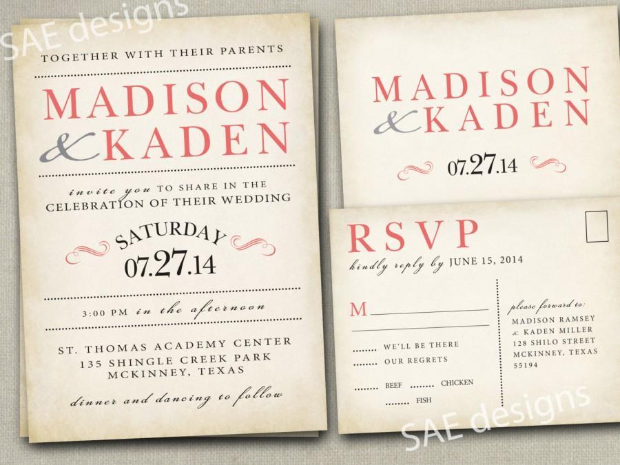 Wedding Invitation Invitations Invite Invites Announcement Announcements Rsvp Cards Postcards C Peach Vintage Rustic Gray Yellow Navy