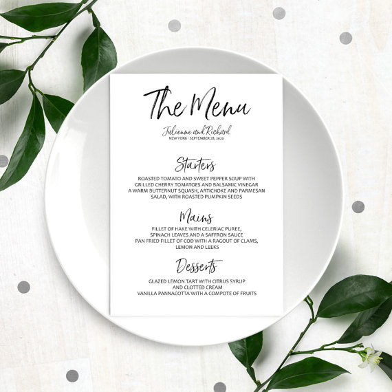 Stylish Hand Lettered Printable Custom Menu Calligraphy Wedding Diy Handwritten Style Reception Cards Template