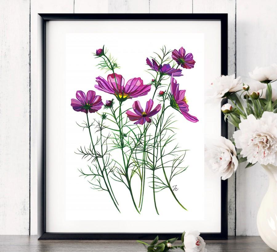 Flowers Painting Watercolor Fashion Ilration Print Art Flower