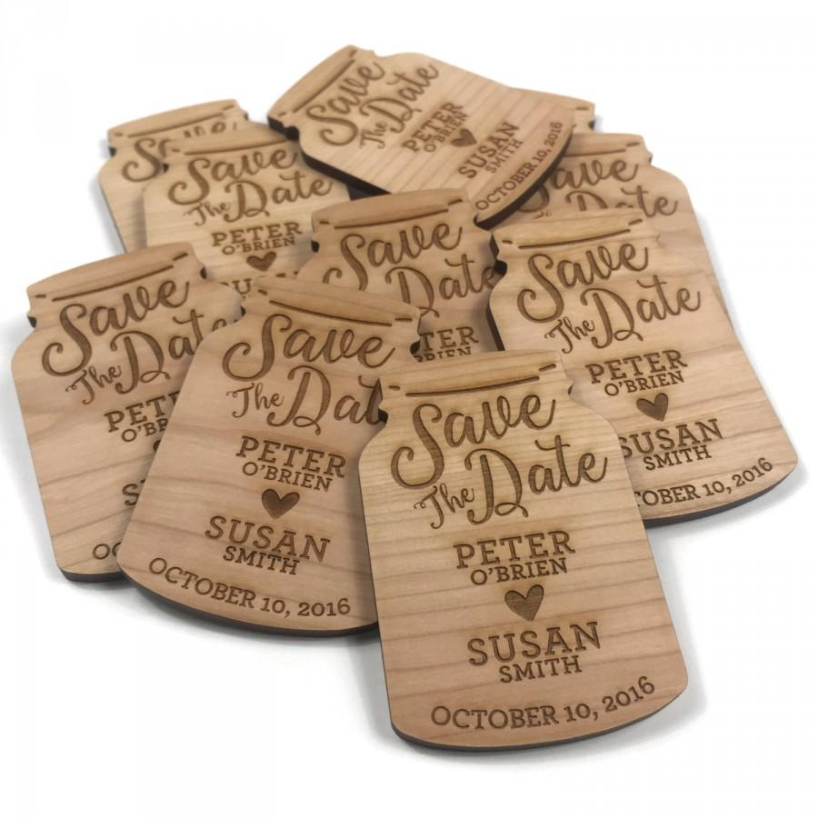 Custom Save The Date Mason Jar Wedding Wood Fridge Magnets 2 Inch X 3 Wooden Invitations Handmade Hand Cherry Sthed004