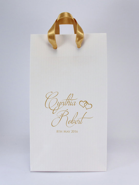 Wedding Favor Bags With Handles Personalized White Paper Gift S Names And Date Small