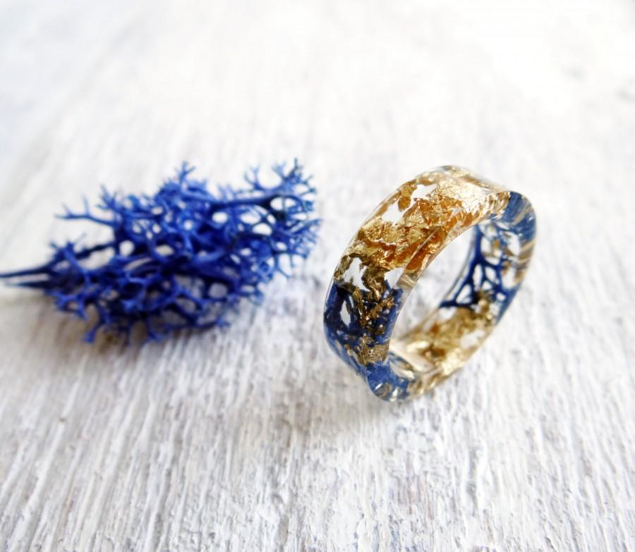 Royal Blue Gold Ring Promise For Her Moss Unique Rings Resin Terrarium Jewelry Nature Inspired Engagement