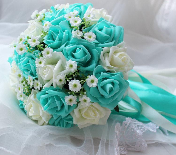 Turquoise Green White Wedding Bouquet Flowers Bridal Centerpieces Decorations Silk Ribbon Fake Flower Bouquets