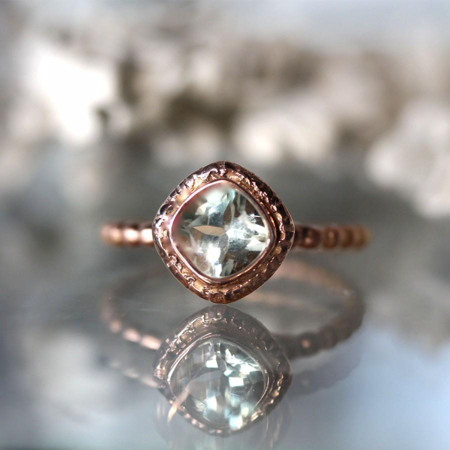 Green Amethyst 14k Gold Ring Gemstone Cushion Shape Eco Friendly Engagement Stacking Recycled Made To Order