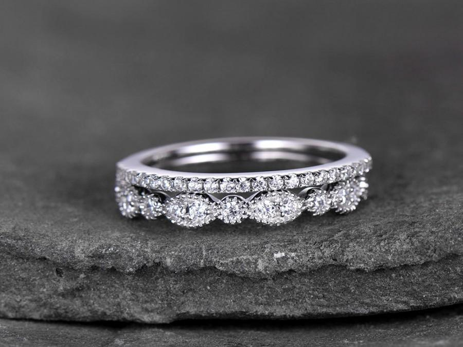 Sterling Silver Ring Set Cubic Zirconia Wedding Band Cz Stack 2pcs Matching Half Eternity White Gold Plated