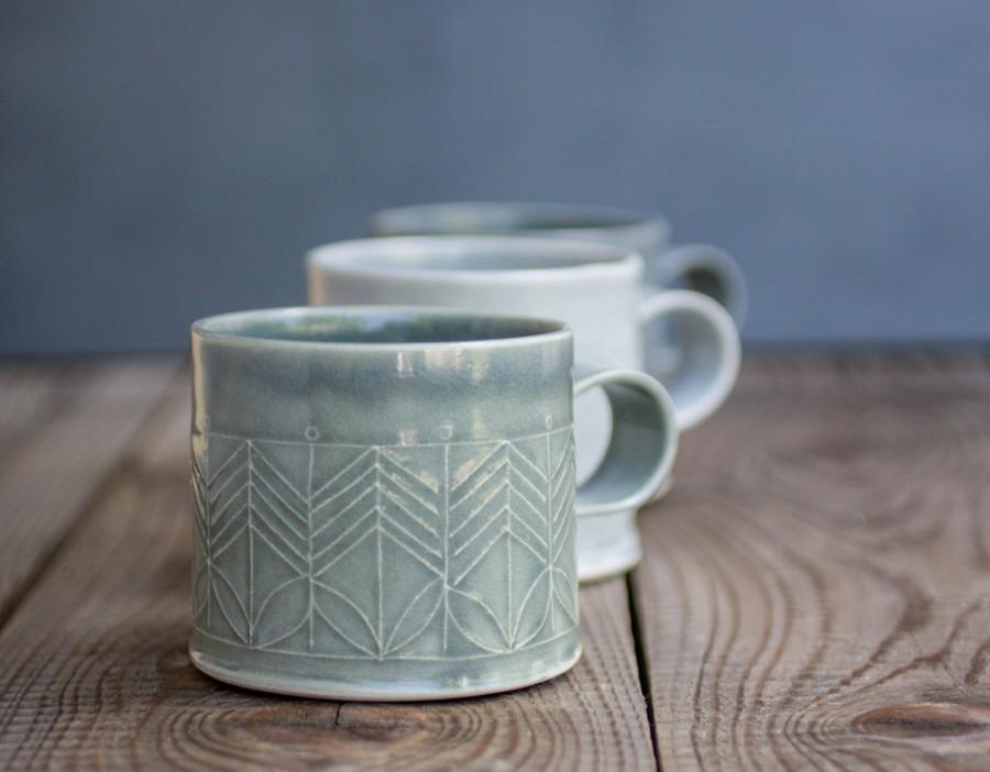 Ceramic Mugs Set Dark Blue Mugs Ceramic Coffee Cups Modern Tea Cups In Geometric Pattern Unique Coffee Mugs Holidays Gift Set Of Four 2645464 Weddbook