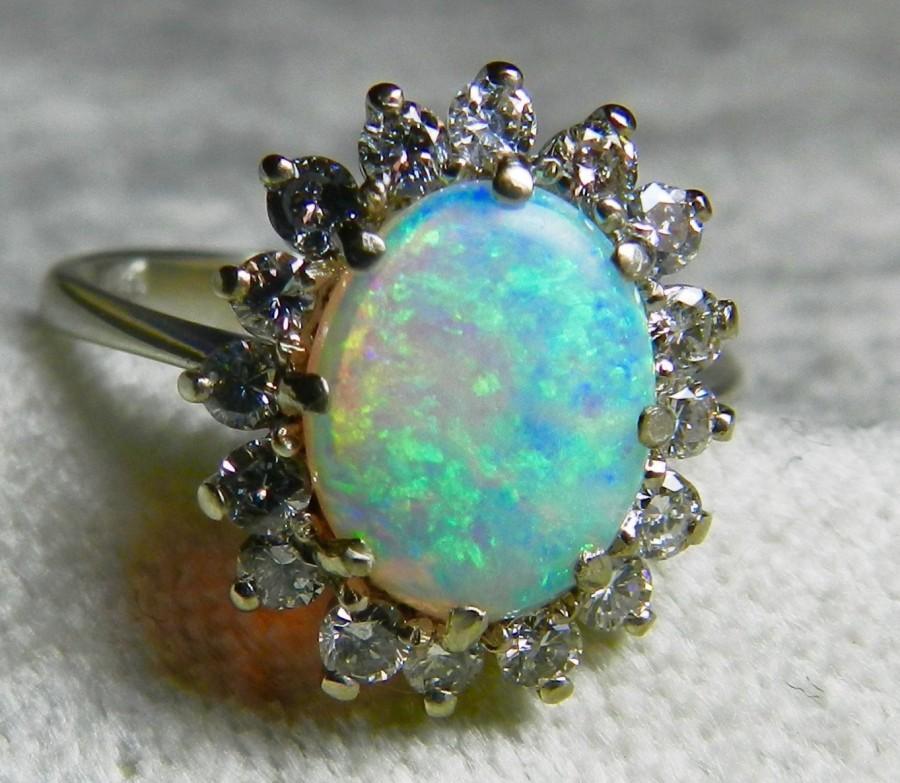 Opal Ring Vintage Engagement 1 65 Carat Australian Colorful 0 50cttw Diamond Halo 14k White Gold