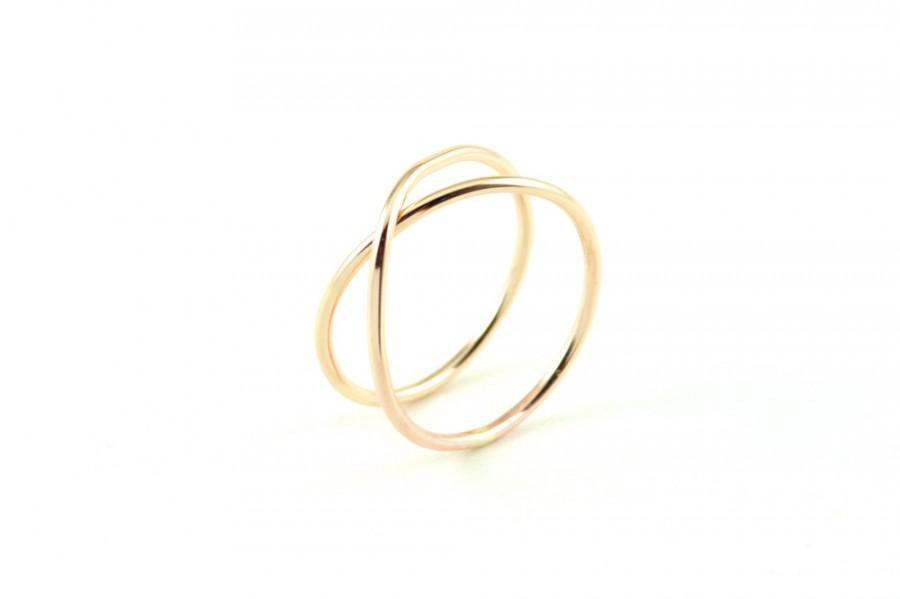 Infinity Symbol Jewelry Eternity Ring Gold Unique Wedding Criss Cross Band
