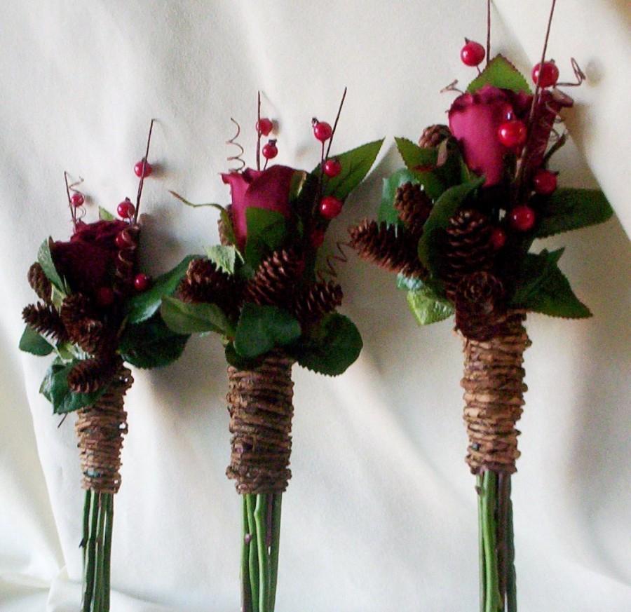 Winter Silk Wedding Flowers 6 Piece Set Bridesmaid Bouquets Boutonnieres Rustic Chic Bridal Bokay Pine Cones Rust Burgundy Accessories