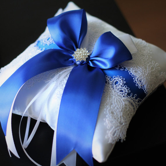 Blue Wedding Pillow White Lace Ring Bearer Royal