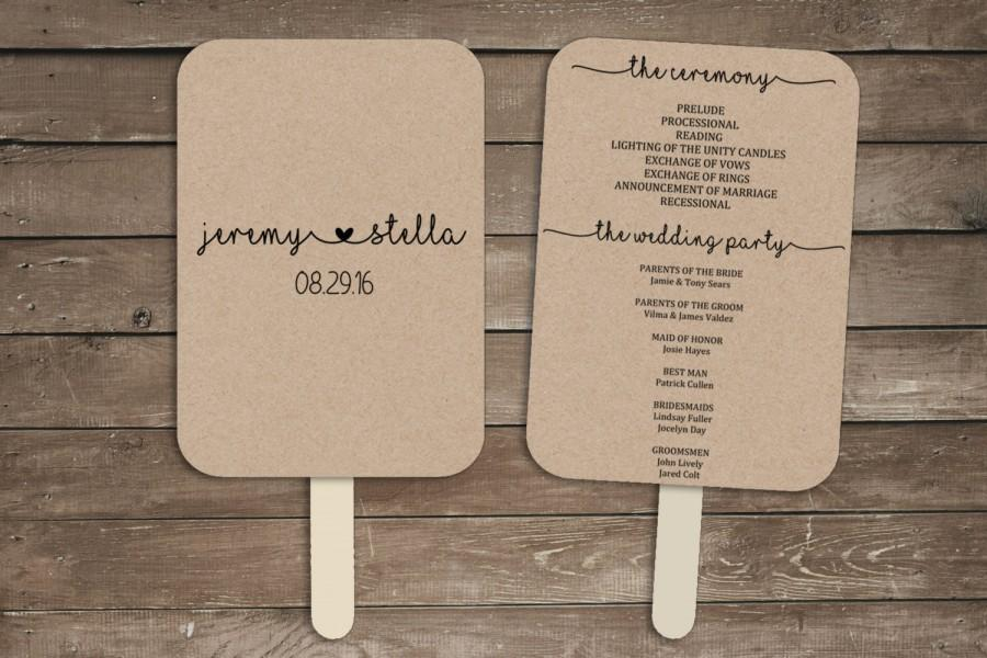 Wedding Program Fan Template Rustic Printable Kit Print