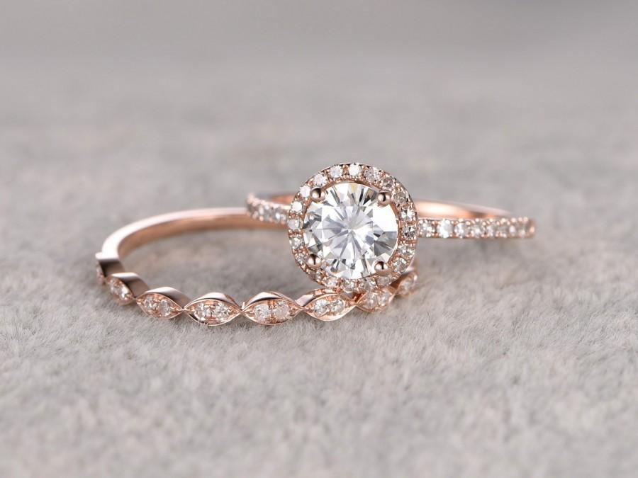 2pc Moissanite Bridal Set Engagement Ring Rose Gold Diamond Marquise Wedding Band 6 5mm Round Cut Gemstone Promise Art Deco Eternity
