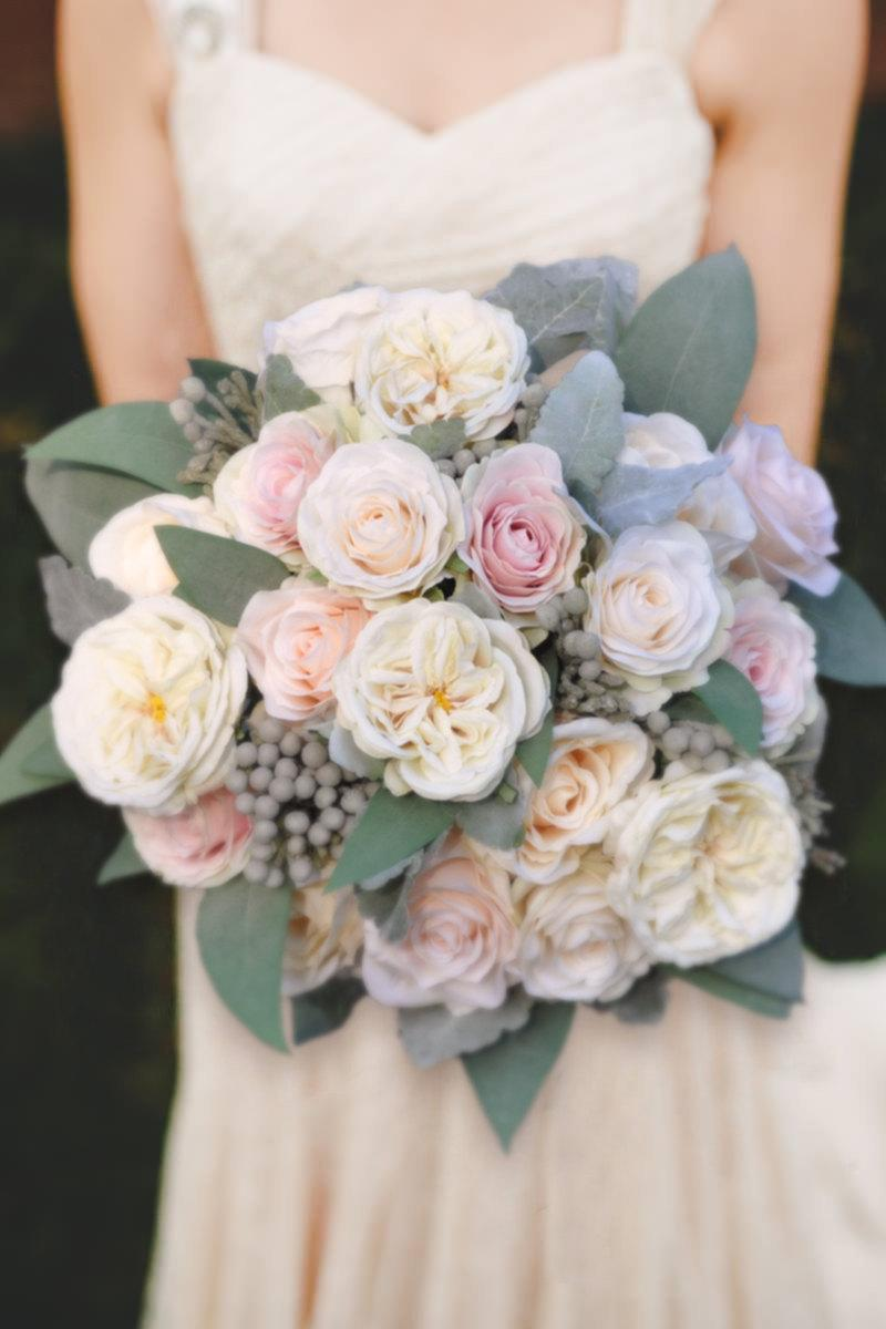Wedding Bouquet Flowers Keepsake Bridal Blush Pink And Ivory Rose Made With Faux