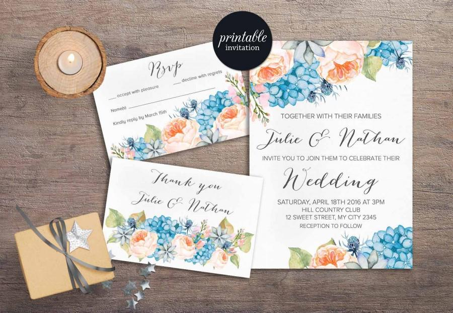 Fl Wedding Invitation Printable Spring Summer Set C Peach Blue Hydrangea Boho Peony Invite