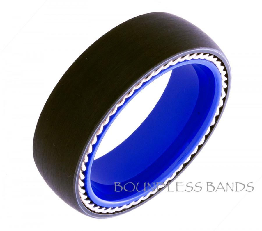 Tungsten Wedding Band Twisted Silver Rope Dome 8mm Black And Blue Ring Men Women Bands Promise Anniversary New Design