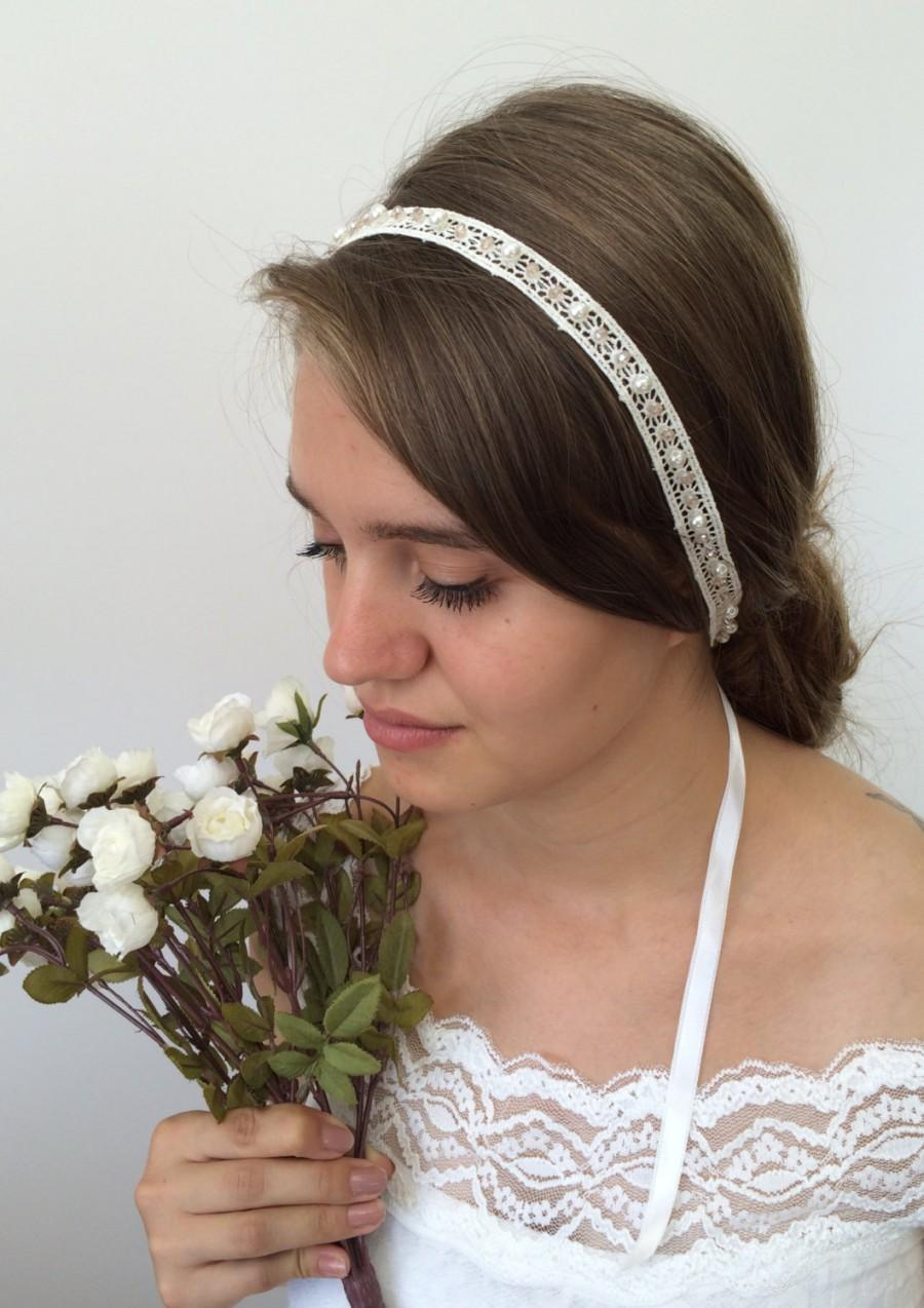 bridal hair wrap, wedding lace headband, pearls and crystals