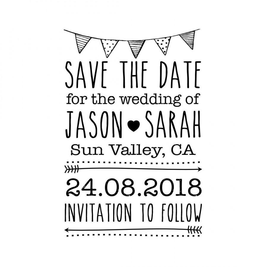 Custom Save The Date Stamp Rubber Wedding Invitations Valentine 2 X3 Cstd3