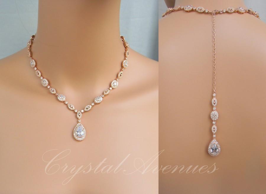 Rose Gold Bridal Necklace Backdrop Crystal Wedding Swarovski Jewelry Christine Drop